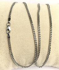 18k Solid White Gold Italian Flat Curb/Link Chain Necklace, 16 Inches, 3.20Grams