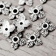 500pcs Tibetan Silver Metal Bead End Flower 6x6x2.5mm