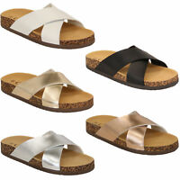 Ladies Cork Slippers Womens Sliders Mule Sandals Slip On Flat Open Toe New