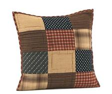 "PATRIOTIC PATCH 16"" QUILTED PILLOW : PRIMITIVE RUSTIC RED BLUE ACCENT COVER"