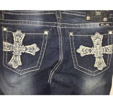 NWT New Miss Me Womens Blue Denim Jeans Relaxed Boot Silver Cross Size 33  $109