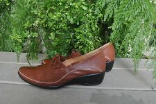 Hongtu Leather Womens Designer Shoes Wedge Chestnut Brown  Size 250 US 8.5