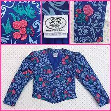 VINTAGE LAURA ASHLEY Floral Jacket 12 14 GREAT BRITAIN Blue Pink SPRING WEDDING