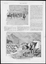 1893 antica stampa-MILITARE CAVALLERIA ITALIANA batteria di Artiglieria Francese (104)