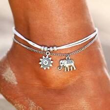 Bracelet Foot Chain Beach Jewelry Gift 3pcs Boho Elephant Sun Ankle Anklet