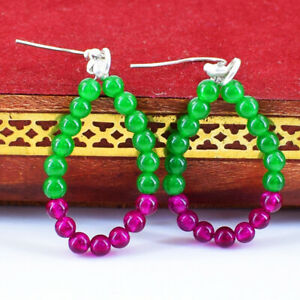 20.00 Cts Earth Mined Green Emerald & Red Ruby Gemstone Round Bead Earrings