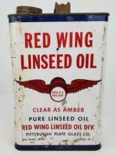 Vintage Red Wing Pure Linseed Oil Metal Gallon Can Man Cave Garage Display