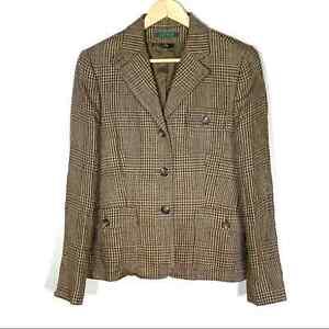 Ralph Lauren 100% linen tan & brown blazer suit jacket women's size 10
