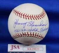 Johnny Blanchard JSA Coa autograph Major League OML Hand Signed Baseball