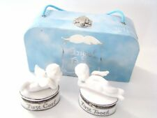 Mud Pie Porcelain Hinged Box - Angel Bebe  First Curl First Tooth Set/2