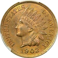 1902 Indian Head Cent 1C, PCGS MS64+RB. Brilliant Uncirculated