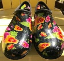 Black Waterproof Gardening Sloggers Shoes Clogs Colorful Floral Pattern Size 8