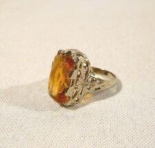 ART DECO 18K Gold & Yellow Stone  Antique Ladies RING Size 6 1/4  Filigree 4.8g