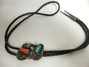 VINTAGE STERLING SILVER, TURQUOISE &  CORAL BOLO PENDANT & TIE     #G105