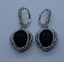 Anthony Atelier Sterling Silver & Caged Checkered Cut Onyx Earrings