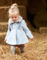 Monsoon Baby Blue Florrie Girls Fur Collar Frill Dress Coat Newborn To 4 Years