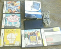Nintendo DSi Black w5 games, charger, stylus, and starter pack