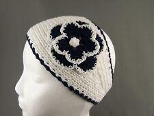 Navy Blue White 100% cotton flower crochet ear warmer muff head band wrap knit