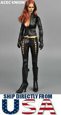 "1/6 Black Widow Catwoman Black Leather Suits For 12"" Hot Toys Phicen USA SELLER"
