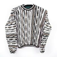 Vintage 90s Tundra Canada Coogi Style Colorful 3D Knit Crewneck Sweater L Tall