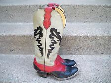 Vintage Justin D0149 Cowboy Western Inlay Red Leather Women's Boots Size 8.5 B