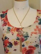 Gold and Acrylic Fashion Tassel Necklace Set