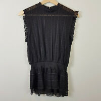 DECJUBA | Womens Black Olivia Lace Tank / Blouse Top [ Size XS or AU 8 / US 4 ]