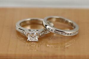 Radiant Square Cut VVS1 Center Princess Wedding Set 1.85ct TW 14kt White Gold