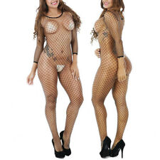 Women Glamour Crotchless Mesh Full Body Stocking Fishnet Black Bodysuit Romper