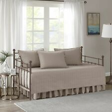 Comfort Spaces Kienna Daybed Set - Stitched Quilt Pattern - 5 Pieces - Taupe -