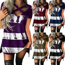 Women Sexy V-Neck Short Sleeve T-shirt Mini Dress Summer Casual Blouse Tunic Top