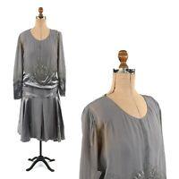 Vintage 20s Grey Silk + Sheer Crepe Chiffon Drop Waist Art Deco Flapper Dress M