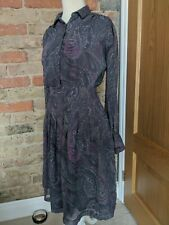 Gap Tea Dress Paisley Midi Multi Colour Purple Grey Long Sleeves Size 8