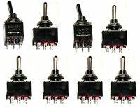 8 ON/OFF/ON 3PDT Miniature Toggle Switch Three Pole Double Throw
