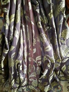 """Pair of Dunelm MTM Lined Curtains Chocolate & Green 104""""w x 60""""d Read Read Read"""