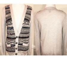MARC JACOBS Sequin Gray Tan Long Sleeve Wool Cardigan Sweater Size M $395