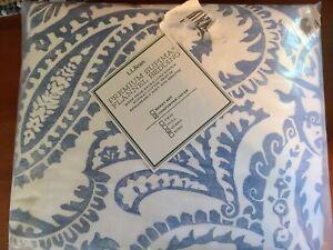 LL Bean  Premium Supima Flannel Bedding Queen Comforter Cover Blue Floral