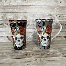 NEW 222 FIFTH HALLOWEEN MARBELLA SKULL LATTE MUG SET 2 MUGS GRAY & BLACK FLORAL