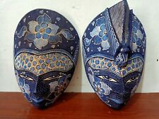 ONE PAIR HAND CARVED WOOD BATIK MASK JAVA ART WALL DECOR ORNAMENT BLUE COLOR A.1