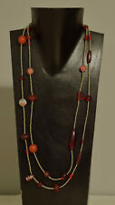 Necklace Africa Red Glass Porcelain Cinnabar Buri Nut Silver Beaded Necklace