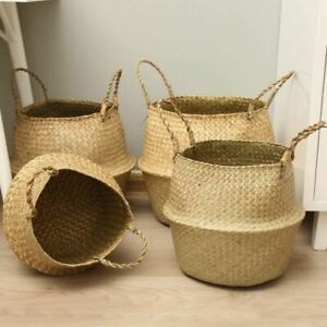Seagrass Belly Woven Laundry Basket Foldable Home Storage Organizer with Handle