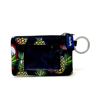 Vera Bradley Lighten Up Zip ID Case with Key Ring in Toucan Pineapple Party NWT