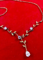 Vintage Sterling Silver Chain Y Necklace w  Crystals Pendant Signed L D ? 18 In.