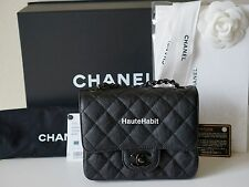 CHANEL SO BLACK CRUMPLED CALFSKIN QUILTED CLASSIC SQUARE MINI FLAP BAG BLACK HW
