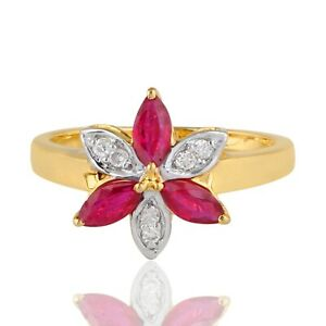 0.83 TCW Marquise Ruby Gemstone Flower Ring HI/SI Diamond 14k Gold Fine Jewelry