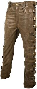 Herren Lederhose Bikerjeans 5 Pocket Jeans Lederjeans Schnallen Vintage Braun