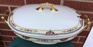 antique oval SOUP TUREEN W/ LID CZECHOSLOVAKIA Floral pattern w/ gold handles