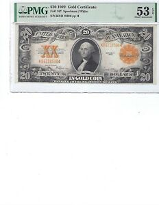 1922 $20 Gold Certificate FR1187 PMG 53 AU EPQ!!! Spellman/White, High Quality!!
