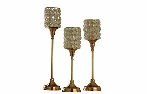 Glass Crystal Votive Gold Finish Handcrafted Candle Holder Candlestick Set of 3
