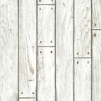 White Wood Panel Wallpaper Prepasted Rustic Wall Sticker Contact Sheets Paper